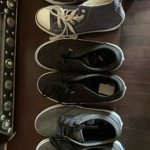 3 pairs of shoes two Vans size 4.5 one Converse 3